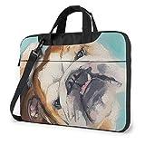 XCNGG Bolsa para computadora portátil a Prueba de Golpes Obra de Arte Bull Dog Painting Bolsa de Mensajero Delgada Bolso de Transporte para Tableta para Viaje de Negocios