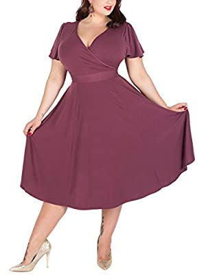 Drop down size is US Plus size Soft and Stretchy Fabric,Deep V-neckline Ruffled Sleeve,Midi Length Waist ties to allow for a perfect fit This dress is suitable for the wedding,Bridesmaid,Cocktail Party