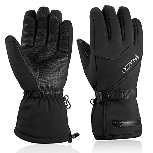 Ski Gloves - VELAZZIO Waterproof Breathable Snowboard Gloves, 3M Thinsulate Insulated Warm Winter Snow Gloves, Fits both Men & Women (M)