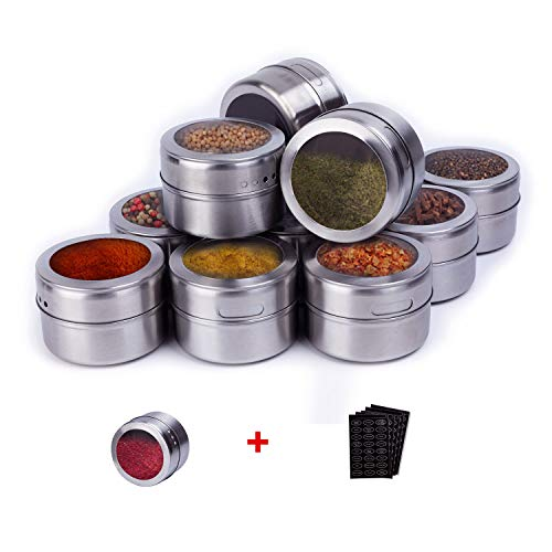 SZILBZ Magnetic Spice Tins, Set of 12 Stainless Steel Spice Jar Clear Lid Sift/Pour, Multi-purpose Storage Tins...