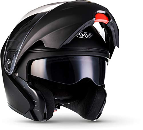 "Moto Helmets® F19 ""Matt Black"" · Motorrad-Helm · Klapp-Helm Modular-Helm Flip-up Integral-Helm Motorrad-Helm Roller-Helm Cruiser · ECE 22.05 Sonnenvisier Schnellverschluss Tasche M (57-58cm)"
