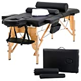 Massage Table Massage Bed Spa Bed 73 inch Long Height Adjustable Portable 2 Folding Massage Salon Table W/Sheet Cradle Bolsters Hanger Facial Salon Tattoo Bed