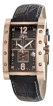 Daniel Steiger Valiant Rose Gold Men's Watch - Rose Gold Plated Stainless Steel Rectangular Case- Precision Chronograph Quartz Movement - Black Leather Band with White Stitching