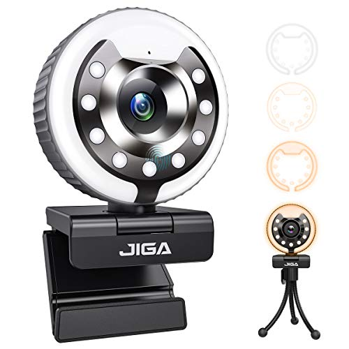 2021 JIGA HD 1080P Webcam with Microphone,Ring Light,Plug and Play,Adjustable Brightness,Advanced Auto-Focus,Privacy Protection,USB Streaming Webcam for PC Desktop Laptop MAC,Zoom Skype