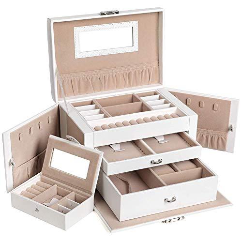 Songmics JBC121W | Luxe XL sieradenbox | 14 compartimenten | 3 niveaus met 2 lades | Met handvat en slot