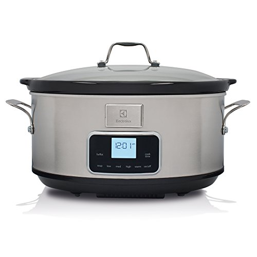 Electrolux ESC7400 Slow Cooker, Pentola Elettrica in Ceramica, Timer, 235 W, 6.8 Litri, Argento