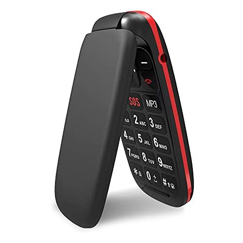 GSM Telephone Portable Clapet, Ukuu Téléphone Portable Senior Débloqué avec Grandes Touches 1,77 Pouces Bouton SOS Facile à Utiliser pour Personnes