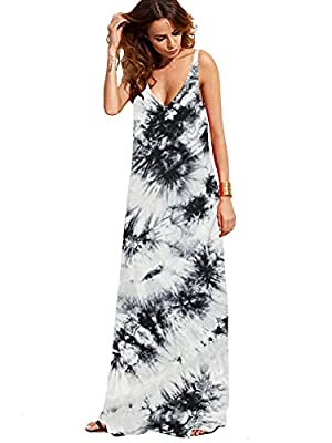 Random dyeing process, the actual pattern of each shirt is not completely the same with display picture Double V-Cut Design Front and Back, Flowy Beach Cami Maxi Dress Tank top Type, Sleeveless, Casual Loose Fit Perfect dress for casual, pregnancy, w...