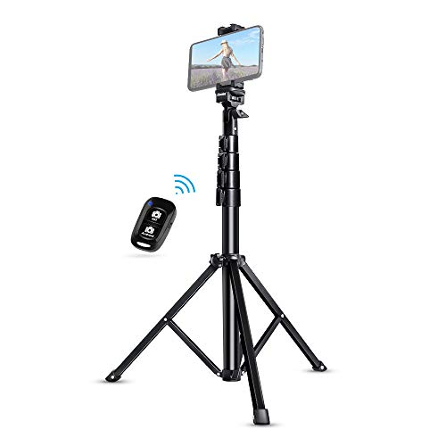 Selfie Stick Tripod, UBeesize 51' Extendable Tripod Stand with Bluetooth Remote for iPhone & Android Phone, Heavy Duty Aluminum, Lightweight