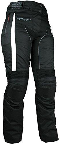 HEYBERRY Damen Motorradhose sportlich Textil Schwarz Weiß Gr. XL / 42