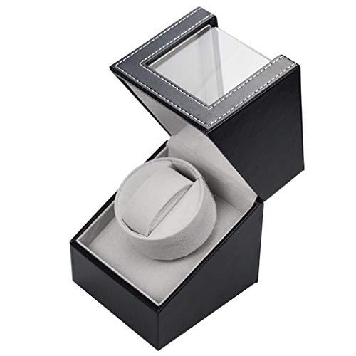 Automatische Uhrenbeweger Box, luxuriöser automatischer Uhrenwender mit leisem Motor, Batteriebetrieb oder Netzteil für Automatikuhren (schwarz)
