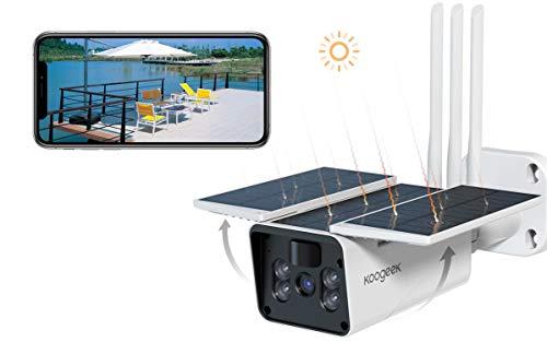 Koogeek 1080P Telecamera Wifi Esterno,10400mAh Batteria Ricaricabile, Telecamera di Sicurezza Solare con Rilevazione Movimento, IP67 Visione Notturna Impermeabile 2 Vie Audio,Cloud/SD