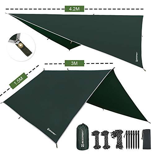 Bessport Zeltplane Sonnensegel Camping, Tarp für Hängematte PU 3000mm Wasserdicht mit Ösen + 6 Erdnägel+ 8 Seilen, leicht Regen Fliegen für Ourdoor Camping (3m x 3m)