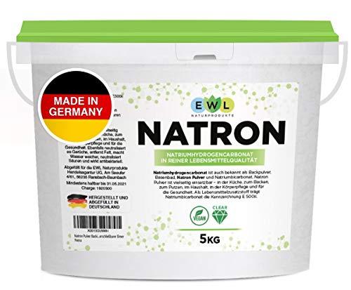 Natron Pulver Backing Soda 5kg I Deutsche Herstellung u. Abfüllung I Hochreine Lebensmittelqualität I Recyclefähiger, wiederverschließbarer Eimer