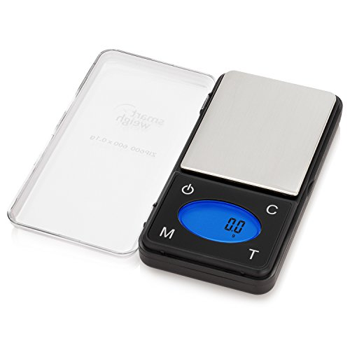 Smart Weigh ZIP600 Ultra Slim Digital Pocket Scale with Counting Feature,Gram Scale and Ounce Scale, 600g by 0.1g