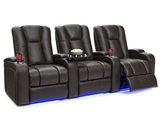 Seatcraft Serenity Leather Home Theater Seating - Power Recline (Row of 3, Vanilla)
