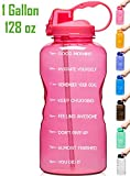 Venture Pal Large 1 Gallon/128 OZ (When Full) Motivational BPA Free Leakproof Water Bottle with Straw & Time Marker Perfect for Fitness Gym Camping Outdoor Sports-Pink