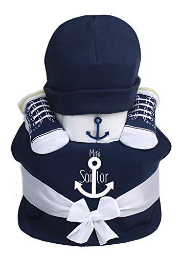 Trend Mama Windeltorte navyblau Junge Lätzchen Babysocken Babymütze Mini Sailor