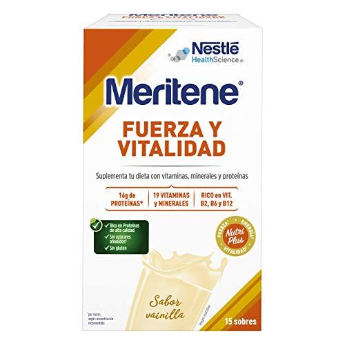 Meritene® FUERZA Y VITALIDAD - Suplementa tu nutrición y mantén tu sistema inmune con vitaminas, minerales y proteínas- Batido de Vainilla - Estuche (15 sobres de 30g)