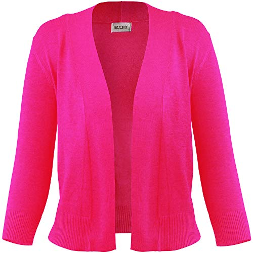 FASHION BOOMY Women's Open Front Cropped Cardigan - 3/4 Sleeve Soft Knit Sweater - Classic Bolero Jacket Medium Hot Pink