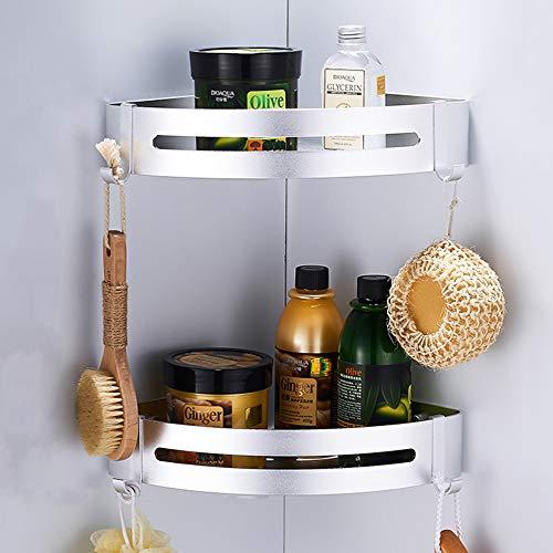 CROSOFMI Duschregal  Duschablage Ohne Bohren für Bad Küche Organizer Eckablage Duschkorb Aluminium (Dreieck, Silber,2 Packungen)