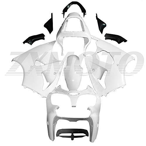 ZXMOTO Motorcycle Fairing Kit for 2000 2001 2002 Kawasaki Ninja ZX6R 636, Fits ZX600E ZX600J ZZR600 2005 2006 2007 2008 Fairings Set,Unpainted
