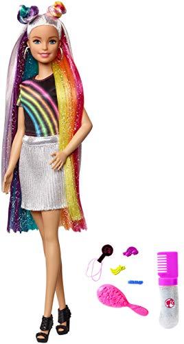 Barbie Bambola con Capelli Lunghi Arcobaleno e Tanti Accessori, Giocattolo per Bambini 3 + Anni, FXN96