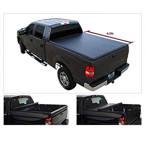 Vekwena 1pc 6.5ft Soft Lock & Roll-up Top Mount Truck Bed Assembly with Rails+Mounting Hardware for 88-00 C10 C K 1500 2500 3500 Pickup Fleetside Tonneau Cover