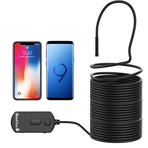 BlueFire Aggiornato Endoscopio WiFi, 1080P 5.5mm 1800mAh 2MP Zoom Rigido TelecameraIspezione, Endoscopio, InspectionCamera, Snake Camera, Telecamera Endoscopica per iOS Android Phone Tablet(10M)
