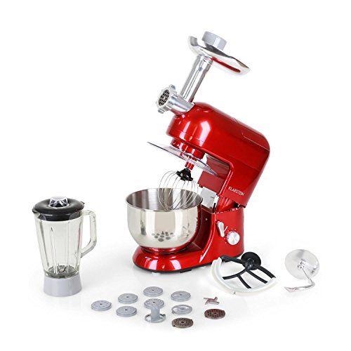 Klarstein Lucia Rossa - robot da cucina , mixer , impastatrice , 1200 W , 5 L , sistema planetario ,...
