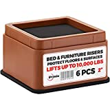 """IPrimio Bed and Furniture Risers – 6 Pack Square Elevator up to 2"""" Per Riser and Lifts up to 10,000 LBs - Protect Floors and Surfaces – Durable ABS Plastic and Anti Slip Foam Grip – Stackable – Brown"""