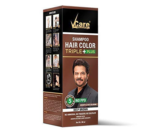 VCare Shampoo Hair Color Triple Plus, Brown, 180 ml, Enriched with Keratin & Silk Protein, No Ammonia, Paraben & Sulphate