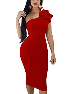 Fabrics:The ruffled dress is soft touching, stretchy, breathable and not see through, runs large, soild color Size: S=US6-8, M=US10-12, L=US14-16, XL=US18-20,XXL=US 22-24,the material is high stretchy,If you are not sure of the size, ONE SIZE DOWM is...