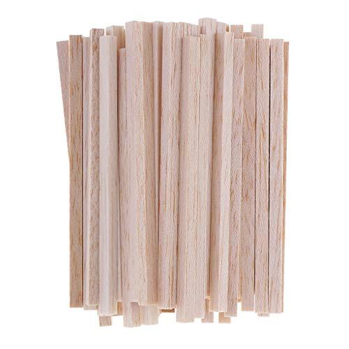 IPOTCH 50 Stück Square Bastelhölzer Sticks Holzstäbchen für DIY Handwerk für Modellbau, Modellbau, Haus und Garten Dekoration - Holz, 110 mm