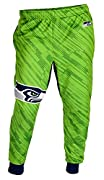 100% polyester fabric Smooth tricot with terry inside for non sticky feel Wide elastic waistband with drawcord Baggy fit with slim, tapered and cuffed bottom legs Bright team colors and printed logos