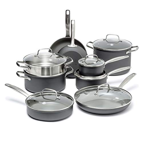 GreenPan Chatham Healthy Ceramic Nonstick, Cookware Pots and Pans Set, 15-Piece, Gray