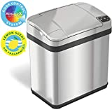 iTouchless 2.5 Gallon Bathroom Touchless Trash Can with Odor Filter and Fragrance, Automatic Sensor Lid, Home or Office, 9.5 L, 2.5-Gallon, Brushed Stainless Steel