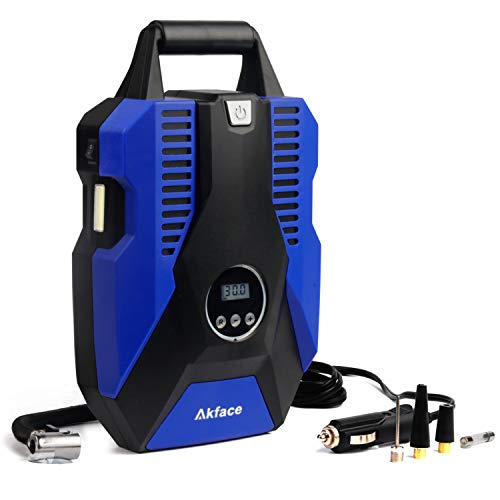 Akface Tire Inflator for Car,Portable Air Pump for Car Tires,12v DC Tire Pump,with Digital Display Up to 150PSI, Auto Shut Off at Preset Pressure Accurate Pressure Control,Blue