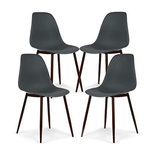 EdgeMod Landon Sculpted Dining Chair, Set of 4, Smoke Gray