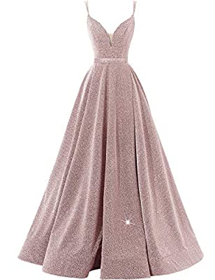 Features: Deep v-neckline with spaghetti straps; Side slit; with Pockets; Elastic material; Adjustable lace up back; A-Line style, it's sure to make you look impressive at the party. Occasion: Prom dress, Evening dress, Bridesmaid dress, Celebrations...