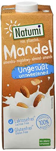 Natumi Amandeldrank zonder suiker | Ecologisch geteelde amandelen uit Europa | Geproduceerd in Duitsland | Gluten- Lactose en suikervrij | Heerlijke nootachtige smaak | 100% plantaardig en gezond | 6 x 1 literverpakking