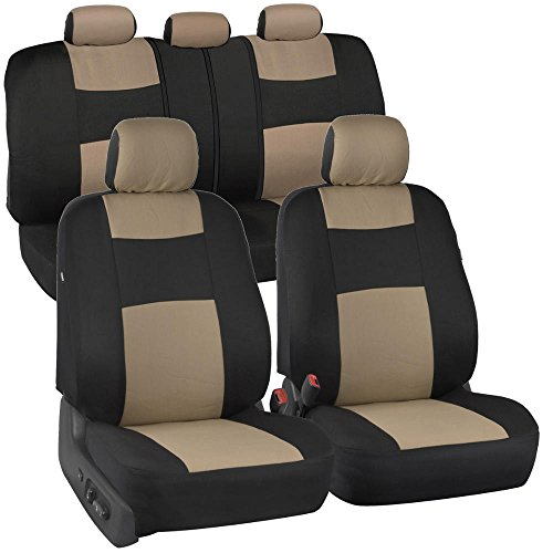 BDK PolyPro Car Seat Covers, Full Set in Beige on Black – Front and Rear Split Bench Protection, Easy Install with Two-Tone Accent, Universal Fit for Auto Truck Van SUV