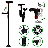 Urge Medical Clever Cane with LED Light,Travel Adjustable Folding Walking Canes, Security Alarm, Two Cushion Handles - Foldable, Light Weight Walking Stick for Arthritis Seniors Disabled and Elderly