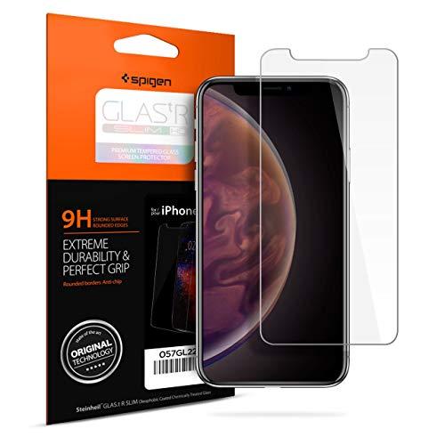 【Spigen】 iPhone XS ガラスフィルム/iPhone X ガラスフィルム 5.8インチ 用 薄さ0.4mm 【日本製旭硝子採用】 ガラスフィルム 強化ガラス 液晶保護フィルム 高透過率 液晶パネル 保護 3DTouch Face ID 対応 057GL22105 (GLAS.tR SLIM (1枚入))