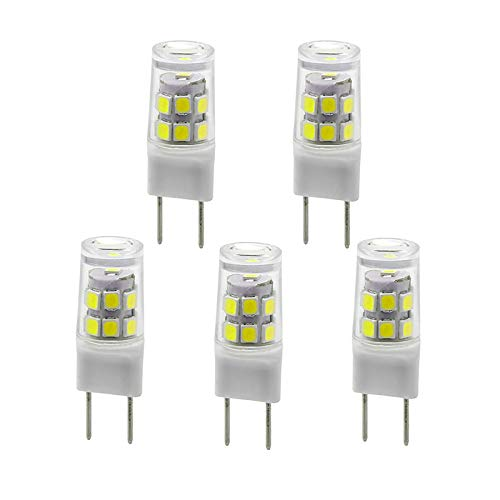 New G8 LED Light Bulb, G8 GY8.6 Bi-pin Base, 3W 120V 20W 35W Halogen Replacement Bulb for Under Counter Kitchen Lighting, Under-Cabinet Light, Puck Light 5-Pack (White Color)