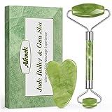 Rodillo de Jade, Aiemok Facial Masaje Piedra Gua Sha Jade, Natural Jade Roller Antienvejecedor...