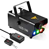 Fog Machine, AGPTEK 500W Portable Led Fog Machine with Lights (Red, Blue, Green) & Wireless Remote Control for Halloween, Christmas, Wedding, Parties, DJ Performance & Stage Show