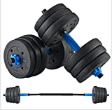 Adjustable Weights Dumbbells Set, Free Weights Barbell with Connecting Rod for Men and Women Home Fitness Exercise Training Workout (30KG - 66 lb)