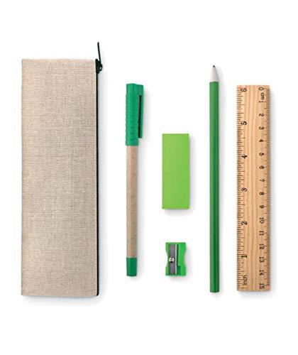 Set scrittura ecologico compreso di Astuccio in juta, righello in legno, temperino, gomma, matita e penna in cartone riciclato, eco sostenibile green
