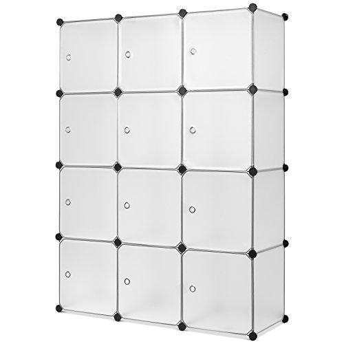 Guardaroba Modulare da 12 cubi Armadio Portatile Organizer per Giocattoli, Armadio modulare Scaffale Componibile con Ante Guardaroba Organizzatore Economico Strutture per Cabine in Plastica Bianco